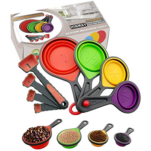in budget affordable HINMAY Folding Silicone Measuring Cup and 8 Spoons Set of Measuring Tools