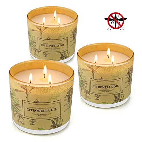 Citronella Candles Outdoor, YINUO LIGHT 3 Wick Citronella Scented Soy Wax Candle(3 Pack)