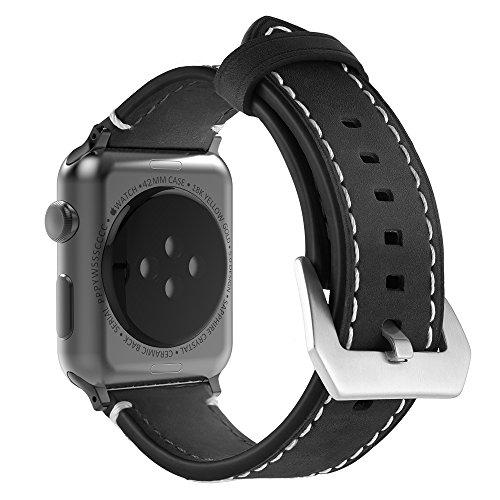 Simpeak Correa Compatible con Apple Watch 42mm, Banda Compatible con Apple Watch Series 4 / Series 3 / Series 2 / Series 1 Vendimia Cuero Correa de Reloj Banda iWatch Cuero, Marron