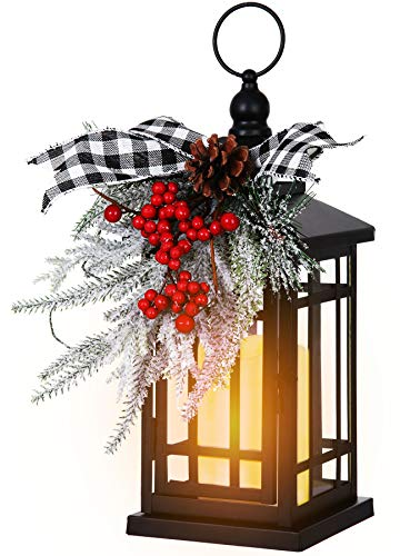 Black Hanging Candle Lantern for Outdoor Patio Indoor Home Table Fireplace Farmhouse Decorations, with Retro Classical Decorative Ornaments