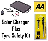 AA Car Solar Powered Battery Charger Car Van Caravan & Tyre Safety Kit