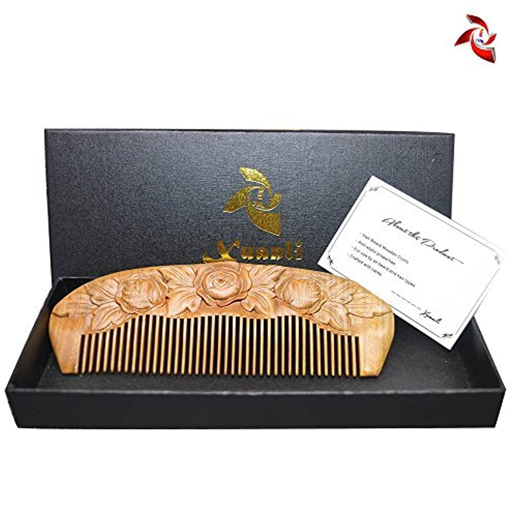 小道具付録獣Xuanli Wood Combs Carving roses design Natural Green Sandalwood Combs Top Quality Handmade Combs For Hair No Static (M024) [並行輸入品]