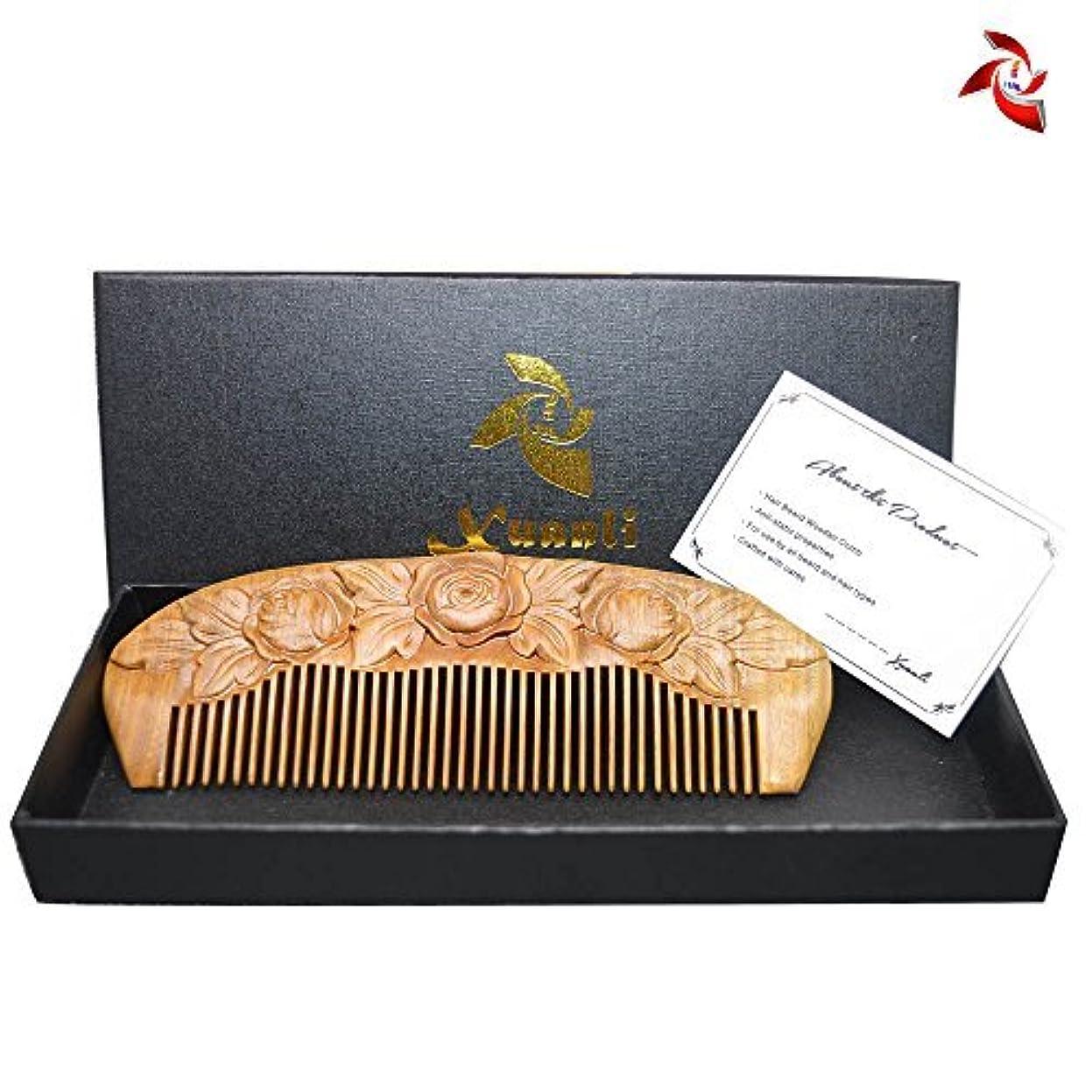 クローンホットドライXuanli Wood Combs Carving roses design Natural Green Sandalwood Combs Top Quality Handmade Combs For Hair No Static (M024) [並行輸入品]