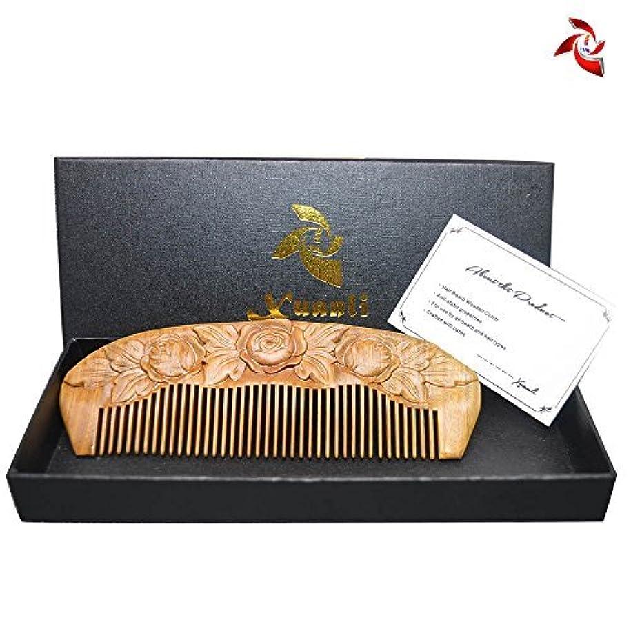 緩める知性一目Xuanli Wood Combs Carving roses design Natural Green Sandalwood Combs Top Quality Handmade Combs For Hair No Static (M024) [並行輸入品]