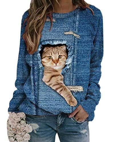 Shownicer Damen Sweatshirt Winter Tshirt Langarm Top Cartoon 3D Druck Katzen-Muster Langarmshirt Weihnachten Pulli Freizeit Bluse Herbst Shirts Hemd Rundhals Pullover C Blau L