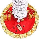ENTHUR Falda para árbol de Navidad, 91,4 cm, color rojo con borde dorado, decoración de árbol de Navidad para fiestas navideñas