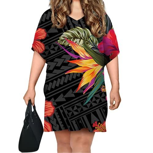 Vestido de manga de murciélago con estampado tribal polinesio para mujer, vestido de verano casual corto bodycon, Qqqt547d83, Talla única