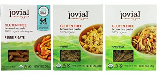 Jovial Organic Gluten-Free Brown Rice Italian Pasta 3 Shape Variety Bundle: (1) Jovial Penne Rigate Pasta, (1) Jovial Fusilli Paste, and (1) Jovial Caserecce Pasta, 12 Oz. Ea.