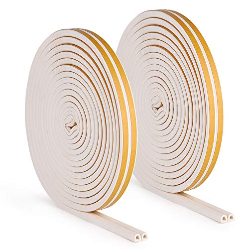 Weather Stripping Door Seal Strip TZSEAL Weatherstrip Front Window Frame Foam Adhesive Rubber Soundproof Insulation Waterproof Dust-Proof Anti-Collision D-Shape 2 Rolls White Total Length 64 Feet