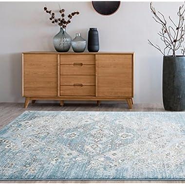 4620 Distressed Blue 3'11x5'3 Area Rug Carpet Large New
