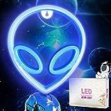 Alien LED Neon Light Neon Signs, pared de Letreros de Luz de Neón Alienígena, Luces de Noche para Colgar USB / Batería para Niño Dormitorio, Bar Decoración de pared, Regalo de Cumpleaños.(Azul)