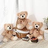 MorisMos 3 Packs Teddy Bear Stuffed Animals Plush - Cute Plush Toys in 3 Teddy Bears - 3 Pcs Little Bear Stuffed Animals - 13.5 Inches Height (Light Brown, 13.5 Inches)