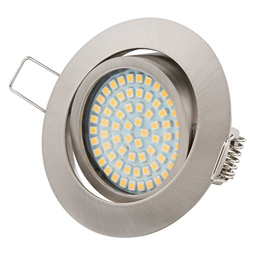 TEVEA PREMIUM LED Einbauleuchte - 230v - Schwenkbare LED Einbaustrahler - Deckenspot - Warmweißes Licht - Austauschbar - Ultra Flach - Energieklasse A+ - (5-er set)