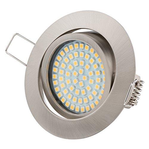 Ultra Flach LED Einbaustrahler - Tolles Design - Warmweiss Kaltweiss - 3.5W 230V Edelstahl Optik Schwenkbar - Einbauspots - Einbauleuchten (Warmweiss)