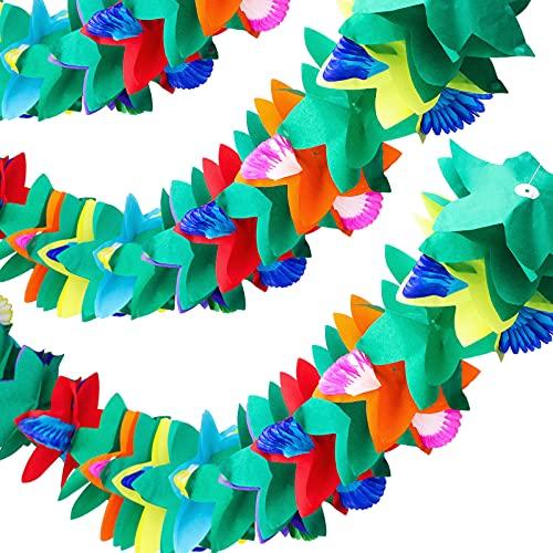 Ghirlanda di fiori in tessuto tropicale, 3 pezzi, ghirlanda di fiori in carta multicolore, 3 m, decorazione per feste hawaiane, luau, feste di compleanno, baby shower, decorazioni natalizie