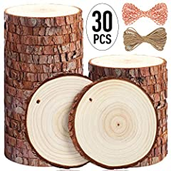 🌲【Natural Beauty】30 Pcs 3.5-4 inches of wood slices made from natural pine wood with bark, to feel the Beauty of the forest. Some wood bark may fall partially from the slice. 💝【Perfect for Your Needs】5ARTH wood slices are smooth, and have polished su...