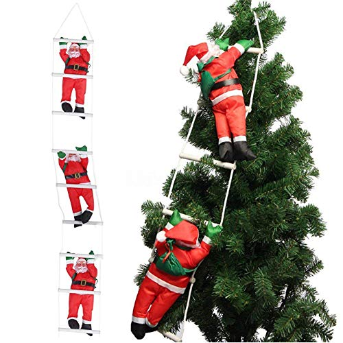 Orgrimmar 3 Santa Claus Climbing on Rope Ladder Christmas Ornament for Christmas Tree Party Home Door Wall Decoration