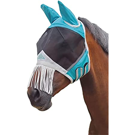 Shires Fine Mesh Fly Mask with Nose Fringe Teal Full