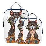 Bolsas de embalaje de compresión American Una niña con tocado de lobo Accesorios de viaje para equipaje Accesorios de viaje expandibles para equipaje de mano, viaje (juego de 3)