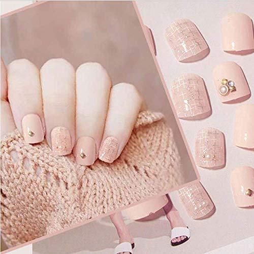 Valse nagels, nep nagels, natuurlijke parel elegante touch Franse Manicure, meisjes nep nagel, metalen klinknagel korte simulatie parel decoratie Valse nagel, 24 Stks druk op vingernagels