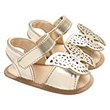 Baby Girls Hollow Butterfly Sandals Open Toes Anti-Slip Beach Walking Shoes Golden Size S