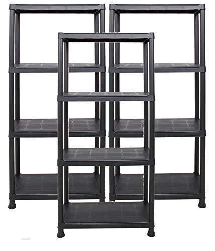 Ondis24 Steckregal 60 x 30 x 135 (H) cm, 4 Böden, Kunststoffregal, Schwerlastregal, bis zu 80 kg,...