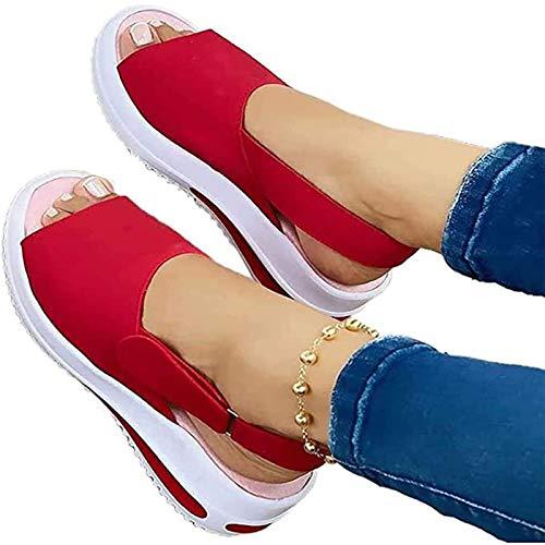 DADW Women'S Comfy Sports Knit Sandals, Gradation Open Toe Fish Mouth Platform Sandals Low-Top Beach Casual Sandals, 2021 Summer New Platform Sandals (41,Red)