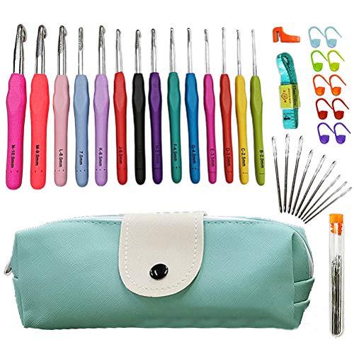 Qiekenao 14 agujas de ganchillo, kit de agujas de tejer, portátil y colorido, para hacer punto de ganchillo