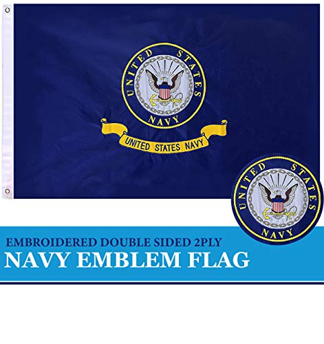 G128 - US Navy Flag Navy Emblem Navy Seal Logo Double Sided Embroidered 3x5 ft Flag Brass Grommets