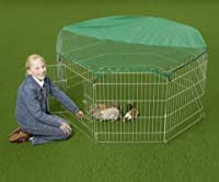 Large Galvanized Weatherproof 8 Panel Enclosure/Play Pen/Cage. For Puppy, Rabbit, Chicken, Duck, Guinea & other Small Animals, Waterproof Galvanized. With Safety Net The galvanized elements are weatherproof and resistant to the rodents. Robust pens c...