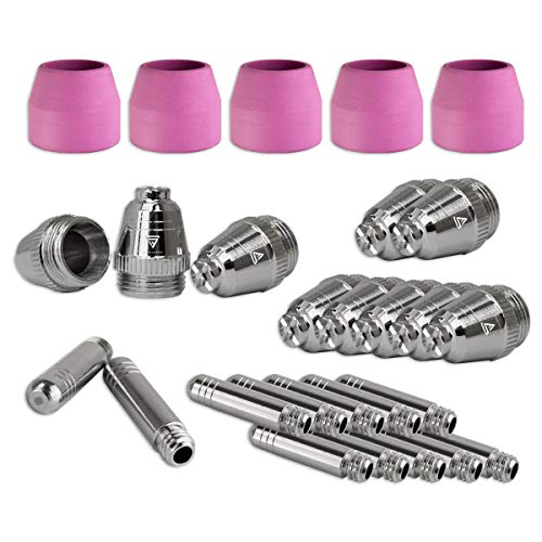 STAHLWERK AG-60 Plasmazubehör Verschleißteile Plasmadüsen + Elektroden + Keramikkappen für AG-60 / SG-55 CUT Plasmaschneider-Brenner, Set 25-teilig