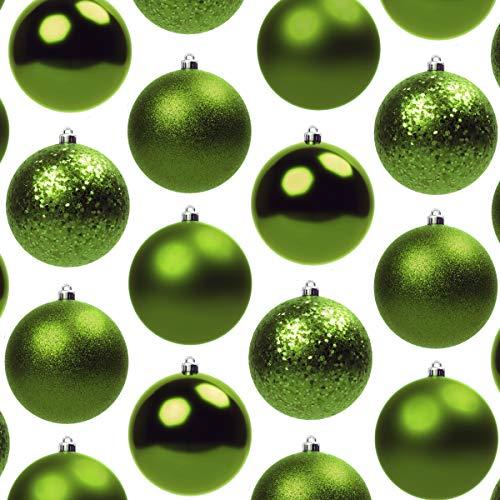 Juego de 48 adornos para fiestas de Navidad y gancho, tamaño pequeño, mate, brillante, lentejuelas y purpurina, de plástico, para Navidad o coronas.