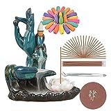 SPACEKEEPER Quemador de Incienso de reflujo de Lotus, Cerámica Hechos a Mano Titular de Incienso Decoración con 120 Conos de Incienso + 30 Varilla de Incienso, Azul