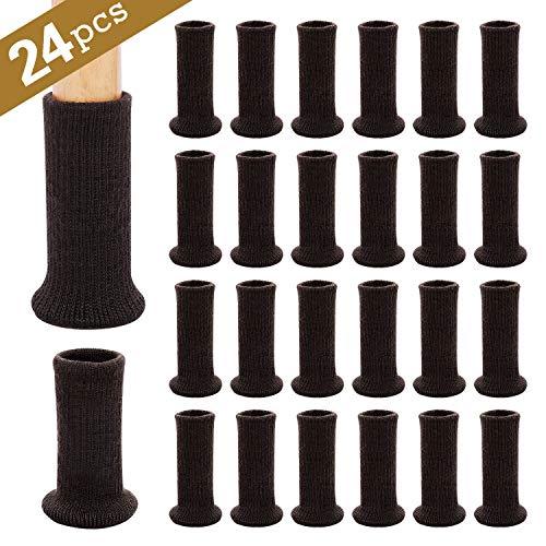 Ezprotekt Möbelsocken, 24er-Pack, gestrickte Möbelfüße, Stuhlbeinschoner, Stuhlbeine, rutschfeste Möbelschuhe, vermeiden Kratzer und Lärm, bewegen Sie sich einfach,Dunkelbraun