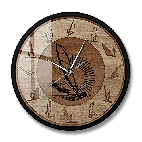 Windsurf Reloj de Pared Redondo Wind Surfer Deporte Extremo Arte Hombre Cueva Decoración para el hogar Reloj silencioso sin tictac Reloj de Pared Windsurfer Gift-Metal_Frame_with_acilica_Glass