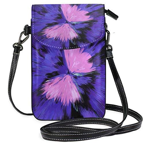 XCNGG Kleine Geldbörse Purple Butterfly Art Cell Phone Purse Wallet for Women Girl Small Crossbody Purse Bags