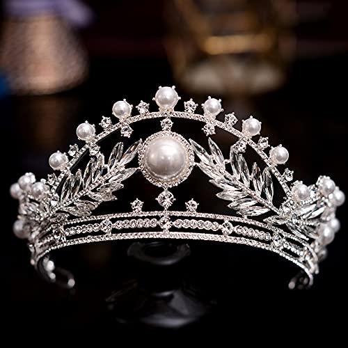 Tiara de cristal de plata coronas corona de boda estilo retro corte...