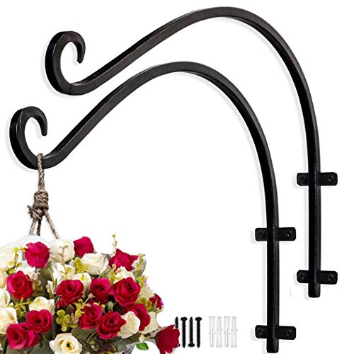 TSINGYUM Hanging Plant Bracket Plant Hangers Outdoor (2 Pcs x 12 inches Black), Stable and Sturdy Heavy Duty Plant Hooks for Flower Basket Wind Chime Bird Feeder Lantern
