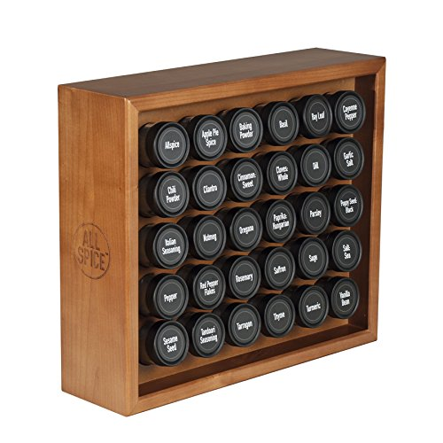 AllSpice Wood Spice Rack, Includes 30 4oz Jars- Cherry Stain