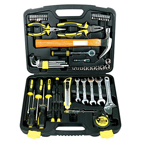 DOWELL 61 Piece Socket Wrench Auto Repair Tool Set,Mixed Household Hand Tool Kit with Plastic Toolbox Storage Case