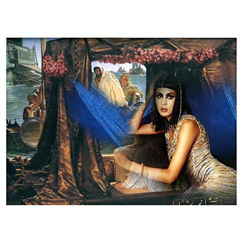 WZADXY 1 Pieza Lienzo Pintura Madera egipcia Belleza Hecho a Mano Cuadrado Completo 5d DIY Pintura Imagen de s decoración del hogar