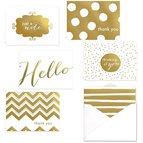 Gold Foil All Occasion Note Card Assortment Pack - Set of 24 cards - 6 designs, blank inside - with white envelopes