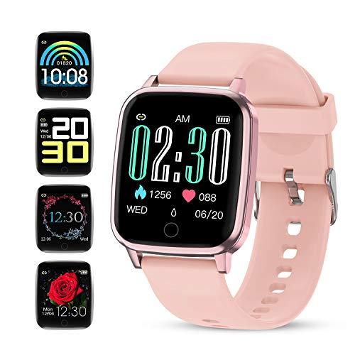 GOKOO Smartwatch Damen Pulsuhren Fitness Vollfarb-Touchscreen Sportuhr IP67 mit Blutdruck Messgeräte Schrittzähler Pulsoximeter Schlafmonitor Uhr für Frauen iOS Android Handy