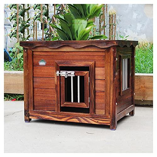 TYX Caseta Perros Madera Carbonizada Perros, Casetas Perros Impermeables Refugio Exterior Perros, para Animales Pequeños Y Medianos Jaula Perros,100×80×80cm