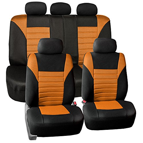 FH Group FB068ORANGE115 Orange Universal Car Seat Cover (Premium 3D Air mesh Design Airbag and Rear Split Bench Compatible)