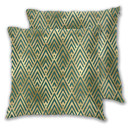 Cocoal-ltd Teal And Gold Vintage Art Deco Chevron Pattern Throw Pillow Case Daily Decoration Lumbar Pillow Covers Sofa Bedroom Car Cushion Cover Zip Square Pillow Cover 18'x 18'