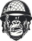 EW Designs Cool Black and White Gorilla Monkey Soldier Cartoon Vinyl Decal Bumper Sticker (4' Tall)