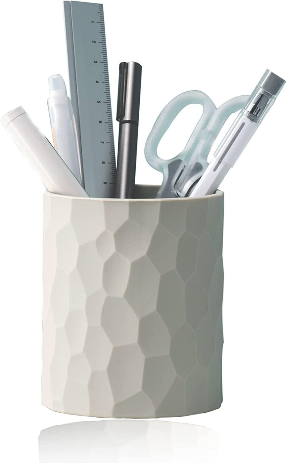Pen Holder,Nordic Style Silicone Waterproof Pencil Holder for Desk Simple&Modern Minimalist Makeup Organizer Multifunctional Office Storage for Home Back to School Supplies(Light grey)