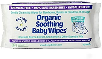 Doctor Butler's Organic Soothing Baby Wipes - Hypoallergenic & All-Natural Fragrance Free Baby Wipes to Moisturize and...