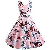Lialbert Vintage Blumenmuster Dame Rockabilly 1950er Petticoat Rundhals V-Ausschnitt...